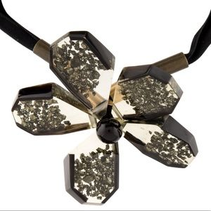 MARNI Speckled Lucite Flower Necklace with Ribbon